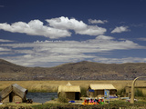Floating Islands of Uros People, Traditional Reed Boats and Reed Houses, Lake Titicaca, Peru Photographic Print by Simon Montgomery
