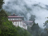 View of the Dzong with Hills and Fog, Trongsa, Bhutan, Asia Photographic Print by Eitan Simanor