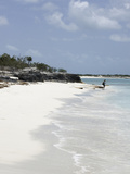 Lone Person on Deserted Island (Cay), Eastern Providenciales, Turks and Caicos Islands, West Indies Photographic Print by Kim Walker