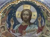 Christ Pantocrator, Church of Saviour, UNESCO World Heritage Site, St Petersburg, Russia Fotografisk tryk af  Godong