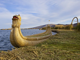 Traditional Reed Boat Uros Island, Flotantes, Lake Titicaca, Peru, South America Photographic Print by Simon Montgomery