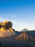 Mount Bromo Volcano Erupting at Sunrise, Sending Volcanic Ash High into Sky, East Java, Indonesia Photographic Print by Matthew Williams-Ellis