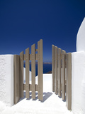 Open Gate and View at Oia, Santorini, Cyclades, Greek Islands, Greece, Europe Photographic Print by Sakis Papadopoulos