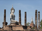 Seated Buddha Statue, Wat Mahathat, Sukhothai, UNESCO World Heritage Site, Thailand, Southeast Asia Photographic Print by Antonio Busiello