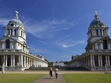 Visitors Enjoy Sunshine, Old Royal Naval College, UNESCO World Heritage Site, London, England Photographic Print by Peter Barritt
