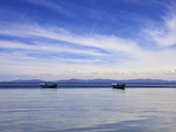 Two Boats on the Lake, Kollabaya, Challapampa, Isla del Sol, Lake Titicaca, Bolivia, South America Photographic Print by Simon Montgomery