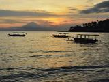 Sunset at Senggigi Beach, with Bali's Gunung Agung in the Background, Senggigi, Lombok, Indonesia Photographic Print by Jochen Schlenker