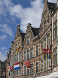 Traditional Gabled Facades Decorated with Heraldic Banners, Oude Markt, Leuven, Belgium, Europe Photographic Print by James Emmerson
