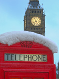 Red Phone Box and Big Ben in Snow, Parliament Square, London, England, United Kingdom, Europe Photographic Print by Stuart Black