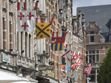 Heraldic Banners Decorate the Flemish Gables in Leuven, Belgium, Europe Photographic Print by James Emmerson