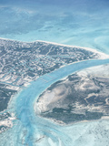Aerial View of Providenciales with Conch Farm in Lower Left of Image, Turks and Caicos Islands Photographie par Kim Walker