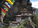 Taktshang Goemba (Tigers Nest Monastery) with Prayer Flags and Cliff  Paro Valley  Bhutan  Asia