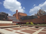 British Library Courtyard with Isaac Newton Statue, Euston Road, London, England Photographic Print by Peter Barritt