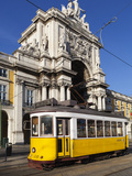 Tram (Electricos) Below the Arco Da Rua Augusta in Praca Do Comercio, Baixa, Lisbon, Portugal Photographic Print by Stuart Black