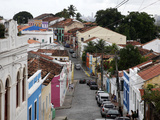 Street Scene with Colorful Houses, Olinda, UNESCO World Heritage Site, Pernambuco, Brazil Photographic Print by Yadid Levy