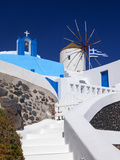 Church, Windmill and Greek Flag, Santorini, Cyclades, Greek Islands, Greece, Europe Fotografie-Druck von Sakis Papadopoulos