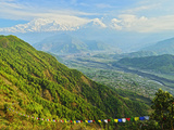 Annapurna Himal and Machapuchare Seen from Sarangkot, Gandaki Zone, Western Region, Nepal Photographic Print by Jochen Schlenker