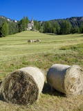 Church and Hay Bales, Vigo di Fassa, Fassa Valley, Trentino-Alto Adige/South Tyrol, Italy Photographic Print by Frank Fell
