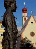 Street Sculpture and Little Church, Ortisei, Gardena Valley, Trentino-Alto Adige/South Tyrol, Italy Photographic Print by Frank Fell