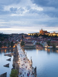 St Vitus Cathedral, Charles Bridge, River Vltava, UNESCO World Heritage Site, Prague Czech Republic Photographic Print by Gavin Hellier