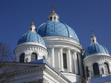 Blue Cupolas Emblazoned with Golden Stars, Trinity Cathedral, St. Petersburg, Russia, Europe Photographic Print by  Godong
