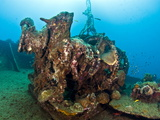 Gear on Deck of Wreck of Lesleen M, Sunk in 1985 Off Anse Cochon Bay, St Lucia, West Indies Photographic Print by Lisa Collins