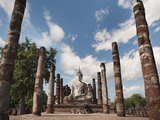 Wat Mahathat, Old Buddhist Temple, Sukhothai, UNESCO World Heritage Site, Thailand, Southeast Asia Photographic Print by Antonio Busiello