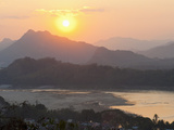 Sunset over the Mekong River from Wat Phousi, Luang Prabang, Laos, Indochina, Southeast Asia, Asia Photographic Print by Matthew Williams-Ellis
