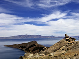 Rocks and Lake, Bahia Kona, Isla del Sol, Lake Titicaca, Bolivia, South America Photographic Print by Simon Montgomery