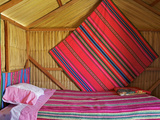 Bedroom, Uros Island, Islas Flotantes, Floating Islands, Lake Titicaca, Peru, South America Photographic Print by Simon Montgomery