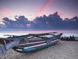 Oruwa (Outrigger Canoe) on Beach at Sunset, Negombo, North Western Province, Sri Lanka, Asia Photographic Print by Ian Trower