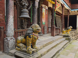 Lion Statue, Patan, Bagmati, Central Region (Madhyamanchal), Nepal, Asia Photographic Print by Jochen Schlenker