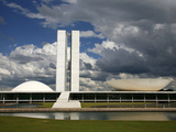 Congresso Nacional (Nat'l Congress) by Oscar Niemeyer, Brasilia, UNESCO World Heritage Site, Brazil Photographic Print by Yadid Levy