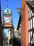 Pedestrian Bridge over Eastgate, with Clock, Chester, Cheshire, England, United Kingdom, Europe Photographic Print by Rolf Richardson