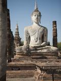 Old Buddha Statue, Wat Mahathat, Sukhothai, UNESCO World Heritage Site, Thailand, Southeast Asia Photographic Print by Antonio Busiello