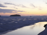 Sunset over Mainly Frozen Surface of Lake Pyhajarvi, Ice Surrounds Islands, at Tampere, Finland Photographic Print by Stuart Forster