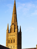 Norwich Cathedral Tower and Spire at Sunset, Norwich, Norfolk, England, United Kingdom, Europe Photographic Print by Mark Sunderland