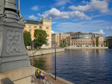 Swedish Parliament and Backpackers, Gamla Stan, Stockholm, Scandinavia, Europe Photographic Print by Frank Fell
