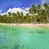 Turquoise Water and Palm Trees Lining Nippah Beach, Indonesia, Southeast Asia, Asia Photographic Print by Matthew Williams-Ellis
