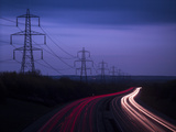 M40 Motorway Light Trails and Power Cables at Dusk, Oxfordshire, England, United Kingdom, Europe Photographic Print by Ian Egner