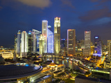 Skyline and Financial District at Dusk, Singapore, Southeast Asia, Asia Photographic Print by Gavin Hellier