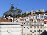 Statue of King John 1st and Castelo de Sao Jorge, Praca Da Figueira, Baixa, Lisbon, Portugal Photographic Print by Stuart Black