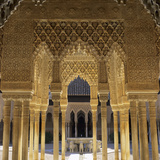 Court of the Lions, Alhambra Palace, UNESCO World Heritage Site, Granada, Andalucia, Spain, Europe Fotodruck von Stuart Black