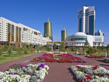House of Ministries and Twin Golden Conical Business Centres, Astana, Kazakhstan Photographic Print by Jane Sweeney