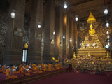 Monks Praying in a Buddhist Temple, Bangkok, Thailand, Southeast Asia, Asia Photographic Print by Antonio Busiello