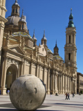 Nuestra Senora del Pilar Basilica, with Stone World Sculpture Saragossa (Zaragoza), Aragon, Spain Photographic Print by Guy Thouvenin