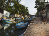 Fishing Boats Along Hamilton Canal, an Old Dutch Canal, Negombo, Western Province, Sri Lanka, Asia Photographic Print by Ian Trower