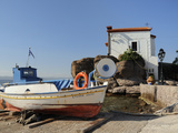Fishing Boat Stella on Ramp Near Small Chapel at Skala Sikaminia, Lesbos (Lesvos), Greece Photographic Print by Nick Upton