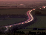 Telephoto Aerial View of Light Trails at Dusk on M40 Motorway in Chilterns, Oxfordshire, England Photographic Print by Ian Egner