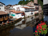 River and Flowers, St Jean Pied de Port, France, Europe Photographic Print by Phil Clarke-Hill